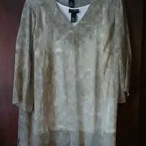 Tan blouse with embroidery white  underne